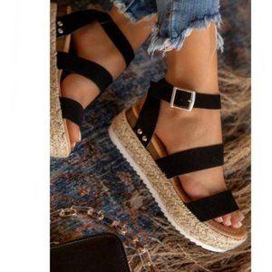 Espadrille Sandals in Black
